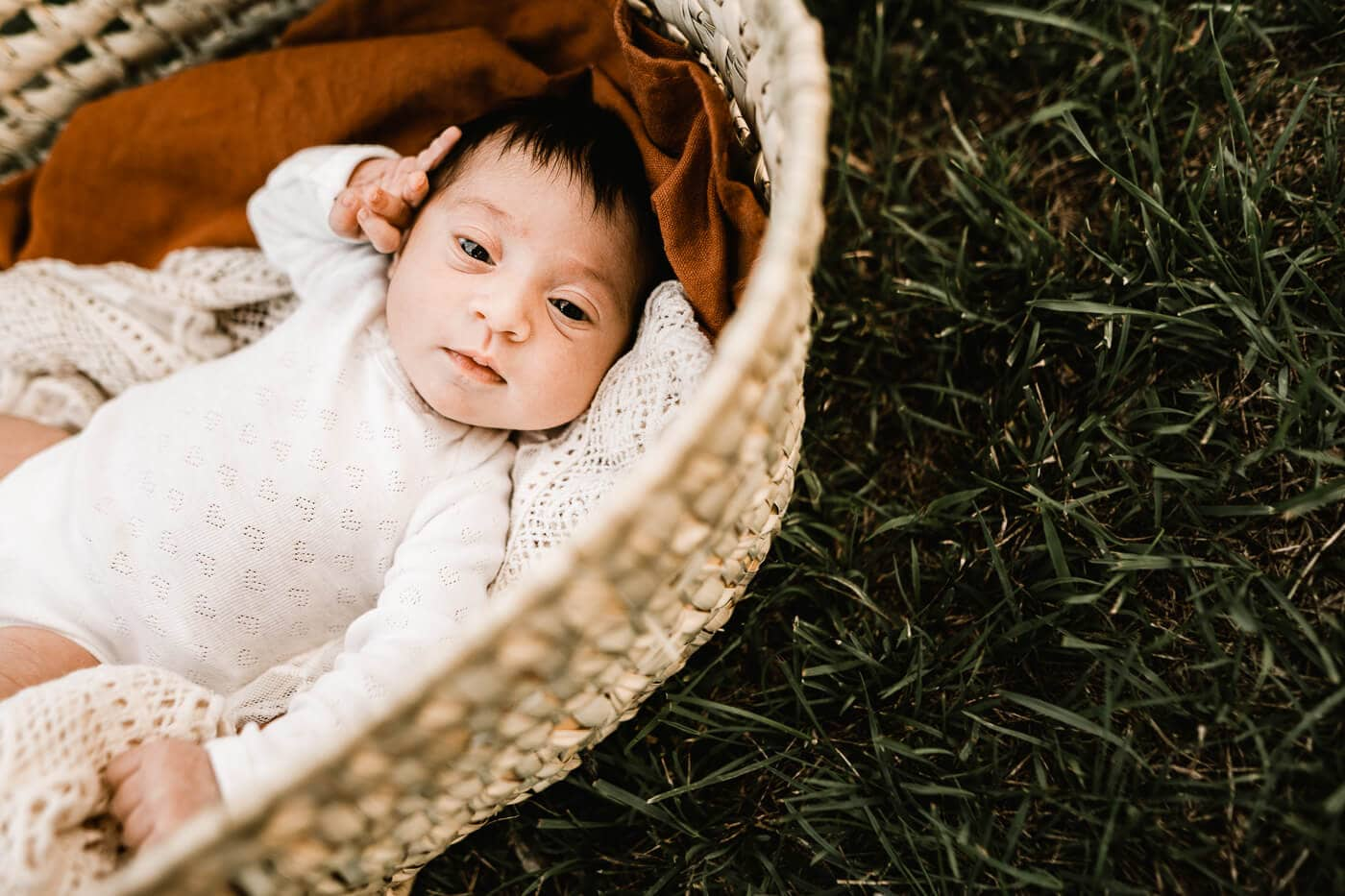 Baby girl in moses basket outside in the grass